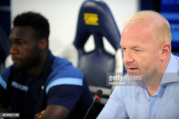 Lazio Manager Igli Tare and Felipe Caicedo of SS Lazio during the as SS Lazio unveils new players Felipe Caidedo and Adam Marusic on August 11 2017...