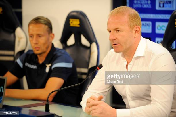 Lazio Manager Igli Tare and Lucas Leiva as SS Lazio unveils new players Lucas Leiva and Davide Di Gennaro on August 9 2017 in Rome Italy