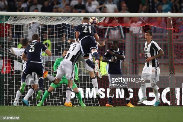 Lazio midfielder Sergej MilinkovicSavic heads the ball during the Coppa Italia final football match JUVENTUS LAZIO on at the Stadio Olimpico in Rome...