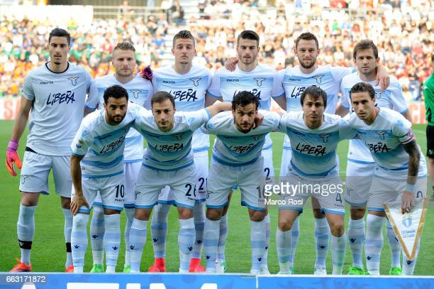 SS Lazio palyers pose a photo before the Serie A match between US Sassuolo and SS Lazio at Mapei Stadium Citta' del Tricolore on April 1 2017 in...