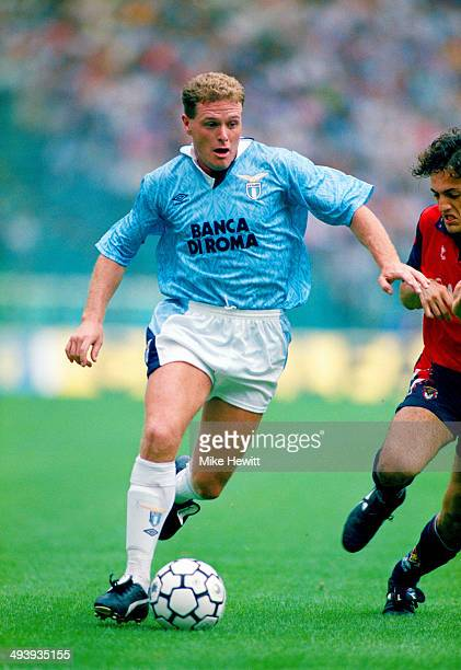 Lazio player Paul Gascoigne in action for Lazio against Genoa his first appearance after signing from Tottenham Hotspur on September 27 1992 in Rome...