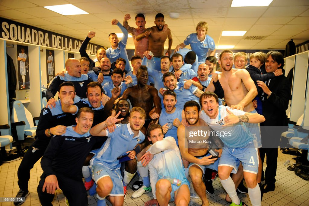 SS Lazio players celebrate after the TIM Cup match between AS Roma and SS Lazio at Stadio Olimpico on April 4, 2017 in Rome, Italy.