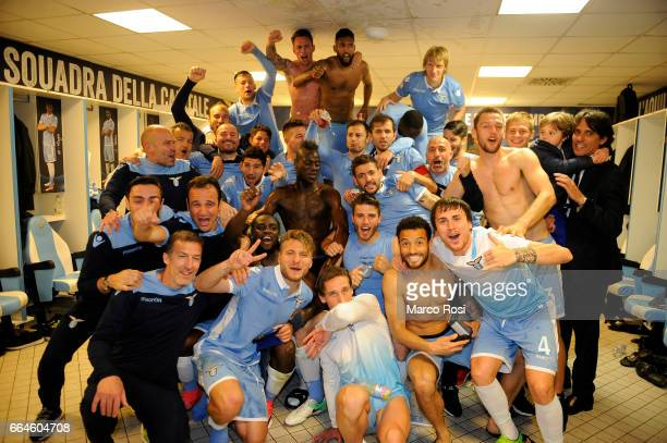 Lazio players celebrate after the TIM Cup match between AS Roma and SS Lazio at Stadio Olimpico on April 4 2017 in Rome Italy