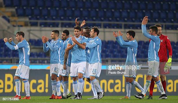 Lazio players celebrate the victory after the TIM Cup match between SS Lazio and Udinese Calcio at Stadio Olimpico on December 17 2015 in Rome Italy