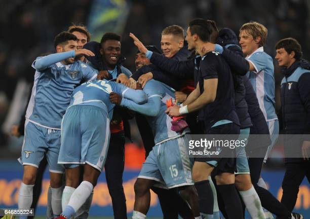 Lazio players celebrate the victory after the TIM Cup match between SS Lazio and AS Roma at Olimpico Stadium on March 1 2017 in Rome Italy