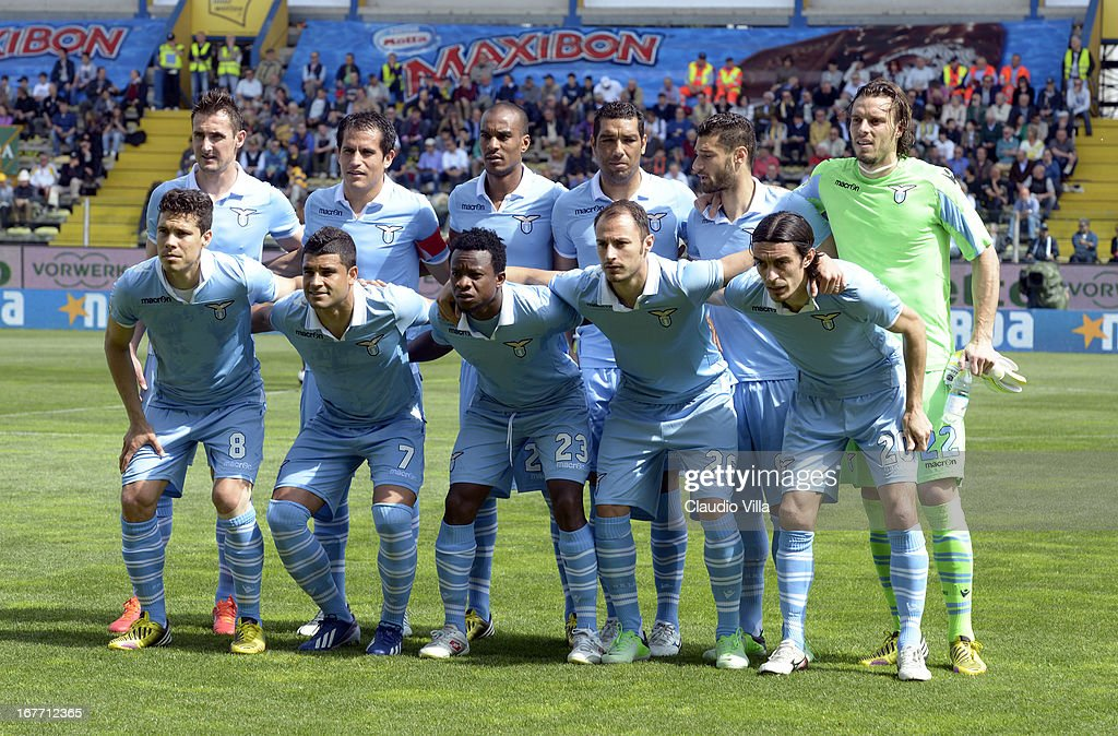 S.S. Lazio players line up for a team photo before the start of the Serie A match between Parma FC and S.S. Lazio at Stadio Ennio Tardini on April 28, 2013 in Parma, Italy.