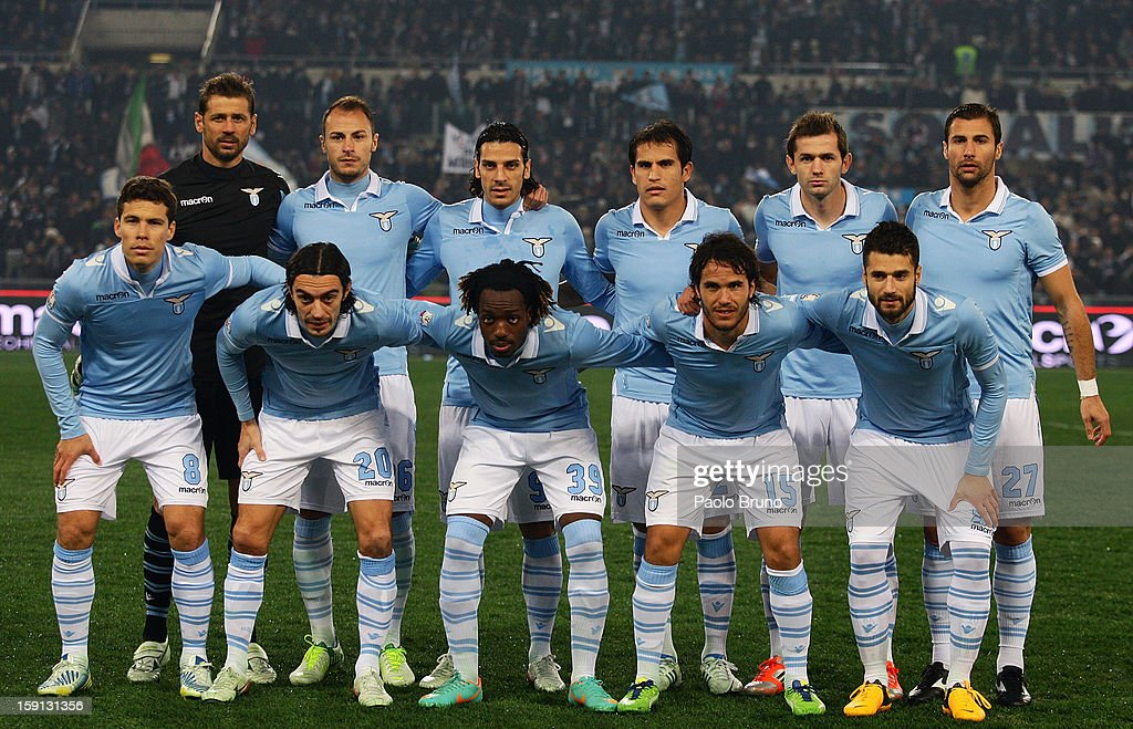 S.S. Lazio players pose for a team photo before the TIM Cup match between S.S. Lazio and Calcio Catania at Stadio Olimpico on January 8, 2013 in Rome, Italy.