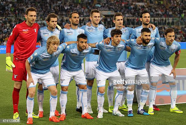Lazio poses during the TIM Cup final match between SS Lazio and Juventus FC at Olimpico Stadium on May 20 2015 in Rome Italy