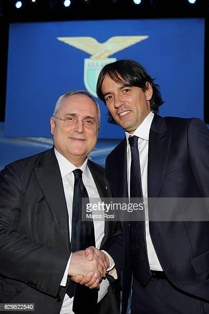 Lazio President Claudio Lotito and Lazio head coacg Simone Inzaghi during the SS Lazio Christmas Dinner on December 13 2016 in Rome Italy
