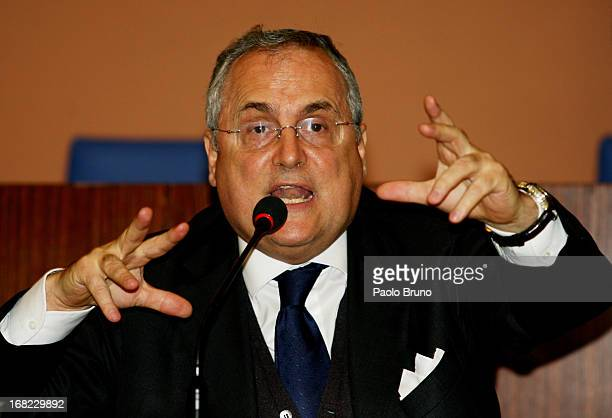 S Lazio President Claudio Lotito attends an Italian National Olympic Committee press conference during the Sportlab Conference 2013 at Salone D'Onore...