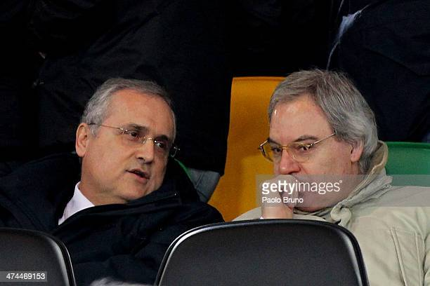 Lazio President Claudio Lotito speaks with Lega Seria A President Maurizio Beretta during the Serie A match between SS Lazio and US Sassuolo Calcio...