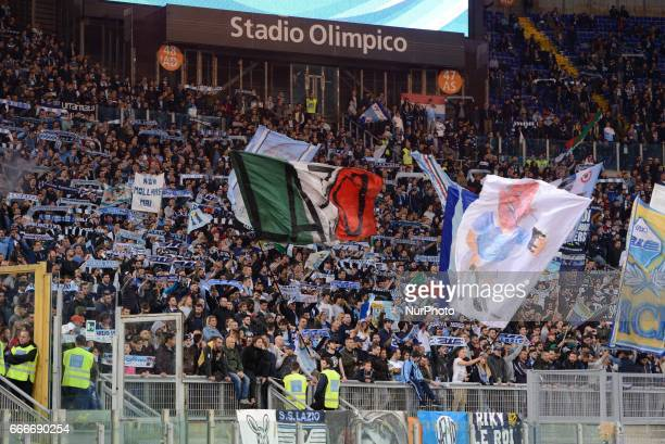 SS Lazio supporter's during the Italian Serie A football match between SS Lazio and AC Napoli at the Olympic Stadium in Rome on april 09 2017