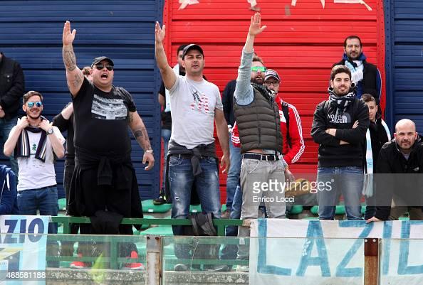 Lazio supporters during the Serie A match between Cagliari Calcio and SS Lazio at Stadio Sant'Elia on April 4 2015 in Cagliari Italy
