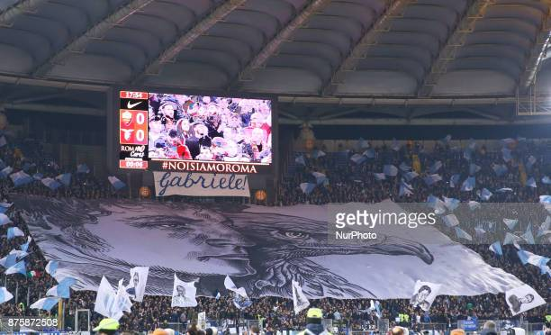 Lazio supporters remembering the ultras Garbiele Sandri killed by the police years ago before the Match Inter v Lazio during the Italian Serie A...