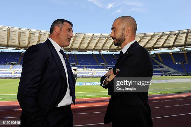 SS Lazio team assistant Angelo Peruzzi and FC Bologna team assistant Marco Di Vaio speack before the Serie A match between SS Lazio and Bologna FC at...