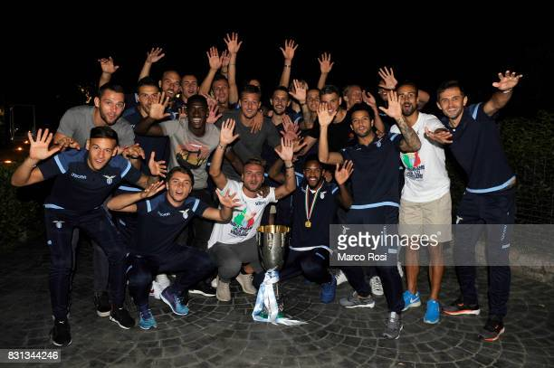 Lazio team attend a party to celebrate their 23 victory over Juventus in the Italian Super Cup on August 14 2017 in Rome Italy