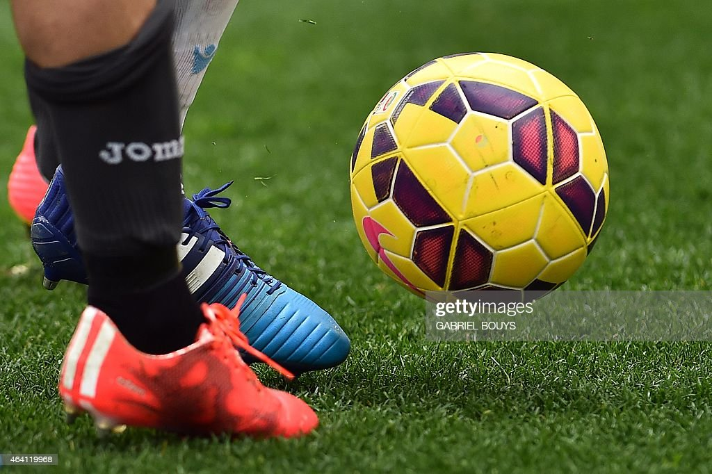 Lazio's and Palermo's players vies for the ball during the Italian Serie A football match between Lazio Rome and Palermo on February 22 2015 at the...