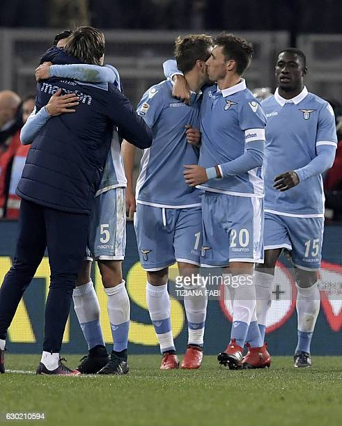 Lazio's Argentinian midfielder Lucas Biglia celebrates with teammates after scoring a goal during the Serie A football match between Lazio and...