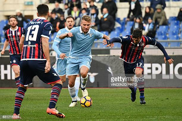 Lazio's Ciro Immobile controls the ball during the Italian Serie A football match Lazio vs Crotone on January 8 2017 at the Olympic stadium in Rome /...