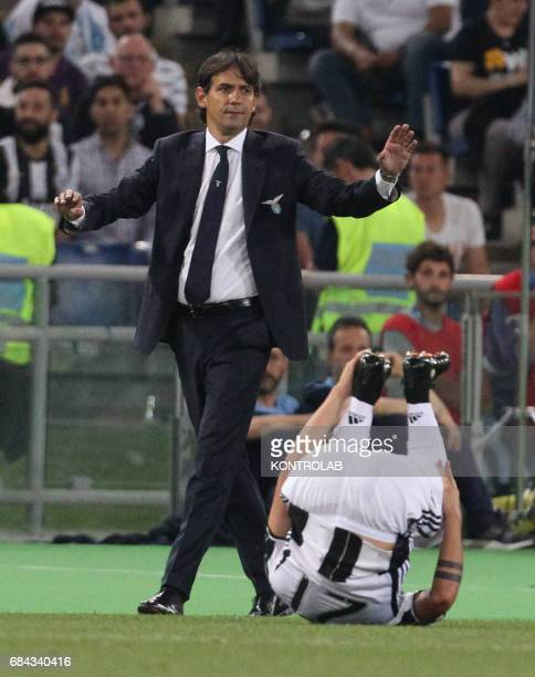 Lazio's coach from Italy Simone Inzaghi gestures during the TIM Italy Cup Final football match SS Lazio vs Juventus FC at the Olimpico Stadium FC...