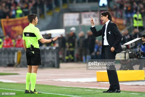 Lazio's coach Simone Inzaghi argues with referee Gianluca Rocchi during the Italian Serie A football match AS Roma vs Lazio on November 18 2017 at...