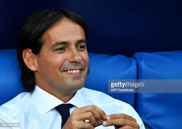 Lazio's coach Simone Inzaghi looks on during during the Italian SuperCup TIM football match Juventus vs lazio on August 13 2017 at the Olympic...