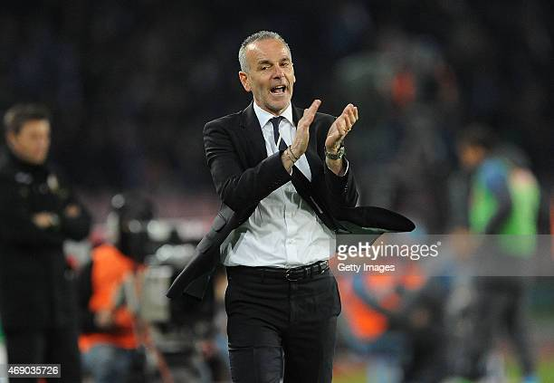 Lazio's coach Stefano Pioli gestures during the Tim cup match between SSC Napoli and SS Lazio at the San Paolo Stadium on APRIL 8 2015 in Naples Italy