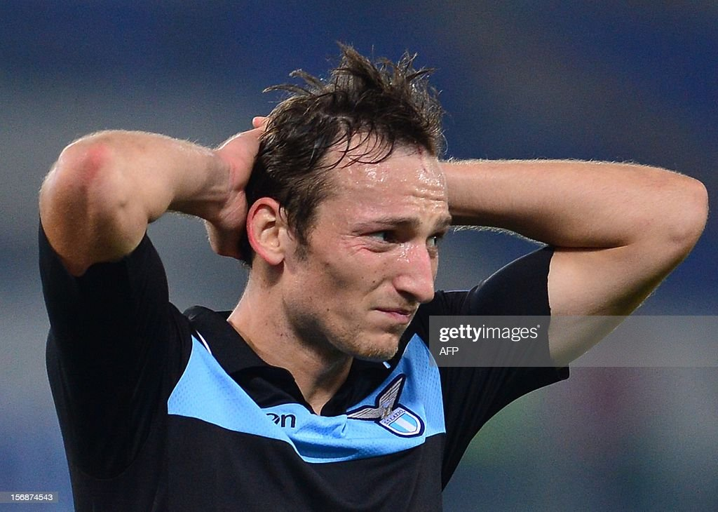 Lazio's Czech forward Libor Kozak reacts after a missing goal opportunity during the group J Europa League football match between Lazio and Tottenham on November 22 , 2012 at the Olympic stadium in Rome.