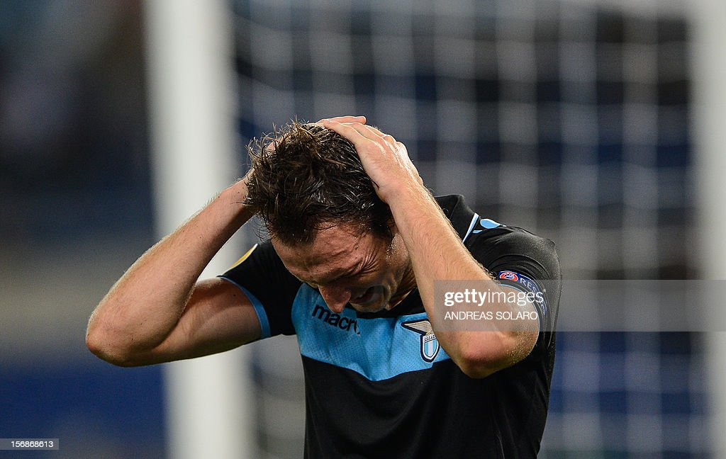 Lazio's Czech forward Libor Kozak reacts after missing a goal oportunity during the group J Europa League football match between Lazio and Tottenham on November 22 , 2012 at the Olympic stadium in Rome.