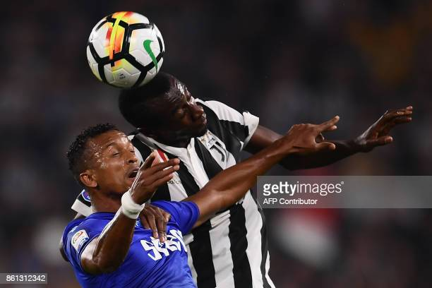Lazio's defender Bartolomeu Quissanga Bastos of Angola jumps for the ball with Juventus' midfielder Blaise Matuidi from France during the Italian...