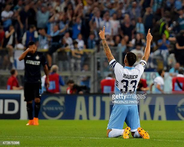 Lazio's defender Brazilian Mauricio celebrates after one of his teammates scored against Inter Milan during their Italian Serie A football match...