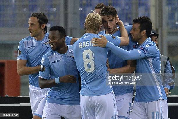 Lazio's defender from Netherlands Wesley Hoedt celebrates with teammates after scoring during UEFA Europa League football match Lazio versus Saint...