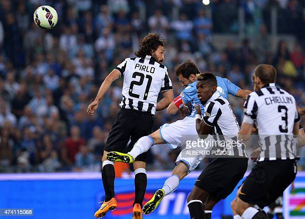 Lazio's defender from Romania Stefan Radu scores during the Italian Tim Cup final match between Juventus and Lazio on May 20 2015 at the Stadio...