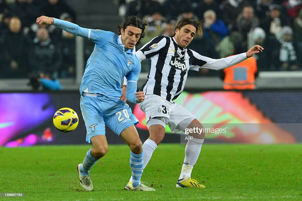 Lazio's defender Giuseppe Biava (L) vies with Juventus' forward Alessandro Matri during their TIM CUP football match between Juventus and Lazio at the 'Juventus Stadium' in Turin on January 22, 2013.