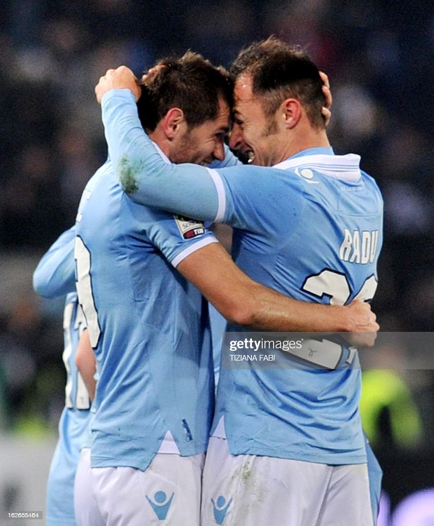 Lazio's defender of Bosnia and Herzegovina Senad Lulic celebrates after scoring against Pescara during their Serie A football match at Olympic stadium on February 25, 2013 in Rome.