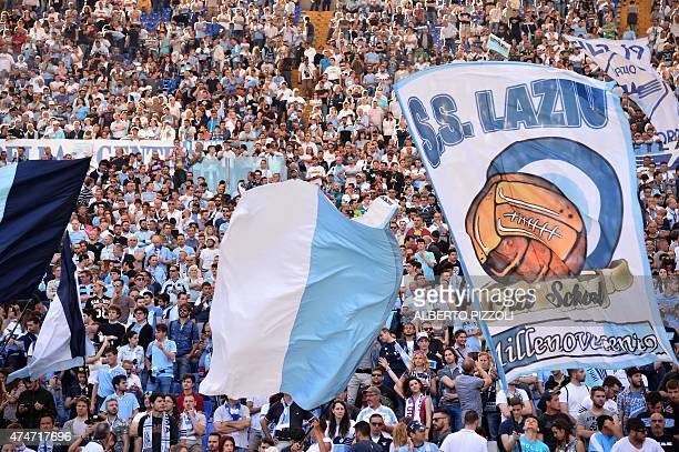 Lazio's fans cheer prior the Italian Serie A football match SS Lazio vs AS Roma on May 25 2015 at the Olimpic stadium in Rome AFP PHOTO / ALBERTO...