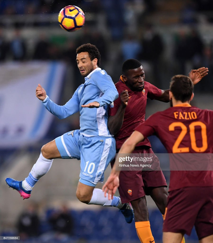 ROME MARCH 2 2017 Lazio s Felipe Anderson L petes with