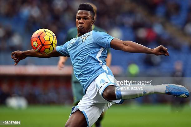 Lazio's forward Balde Diao Keita from Senegal kicks the ball during the Italian Serie A football match between Lazio Rome and Palermo on November 22...