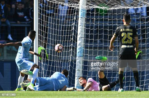 Lazio's forward from England Ravel Ryan Morrison scores a last minute goal during the Italian Serie A football match Lazio vs Palermo on April 23...