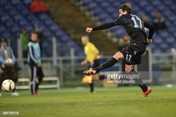 Lazio's forward from Italy Alessandro Matri kicks and scores during UEFA Europa League football match Lazio vs Rosenborg BK at the Rome's Olympic...
