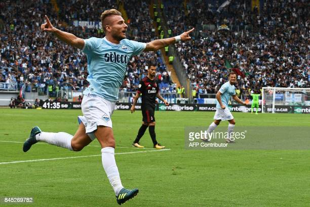 TOPSHOT Lazio's forward from Italy Ciro Immobile celebrates after scoring his second goal during the Italian Serie A football match Lazio vs AC Milan...