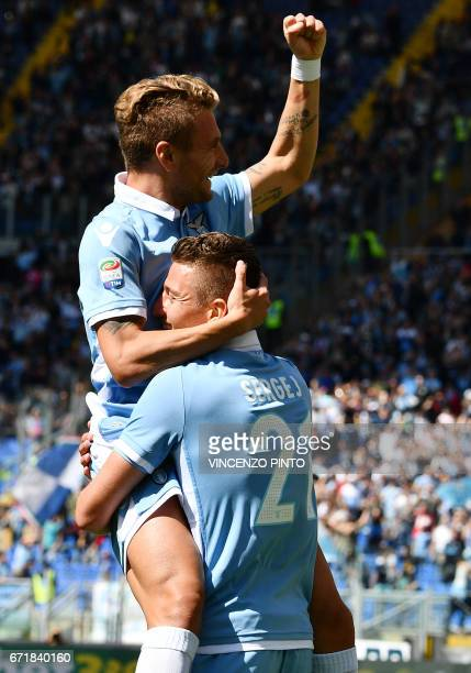 Lazio's forward from Italy Ciro Immobile celebrates after scoring during the Italian Serie A football match Lazio vs Palermo on April 23 2017 at the...