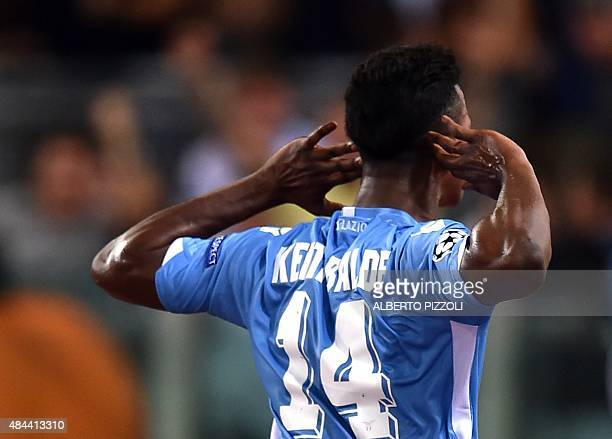 Lazio's forward from Senegal Balde Diao Keita celebrates after scoring a goal during the UEFA Champions League playoff football match between Lazio...
