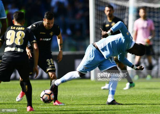 Lazio's forward from Senegal Balde Diao Keita fights for the ball with Palermo forward of Macedonia Ilija Nestorovski during the Italian Serie A...