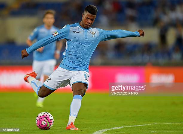 Lazio's forward from Senegal Balde Diao Keita kicks the ball during the Italian Serie A football match Lazio vs Bologna at the Olympic stadium in...