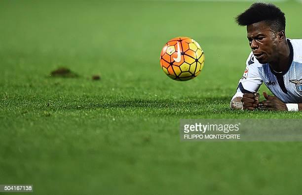 TOPSHOT Lazio's forward from Senegal Balde Diao Keita reacts during the italian Serie A football match Fiorentina vs Lazio at the Artemio Franchi...