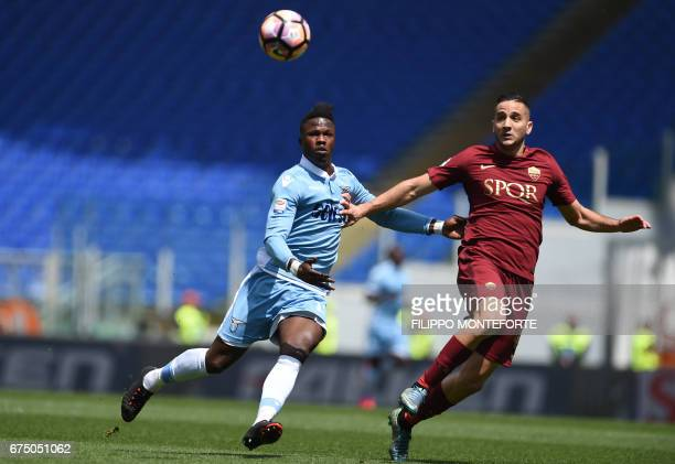 Lazio's forward from Senegal Balde Diao Keita vies with Roma's defender from Greece Kostas Manolas during the Italian Serie A football match AS Roma...