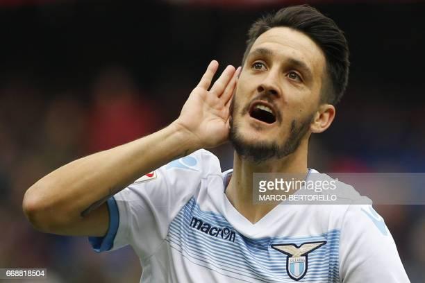 Lazio's forward Luis Alberto Romero Alconchel from Spain celebrates after scoring during the Italian Serie A football match Genoa Vs Lazio on April...