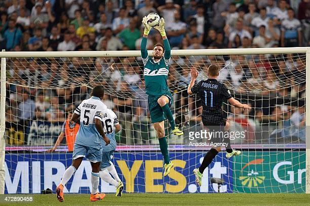 Lazio's goalkeeper Etrit Berisha in action during the Italian Serie A soccer match between SS Lazio and Inter Milan at Olympic stadium on May 10 2015...