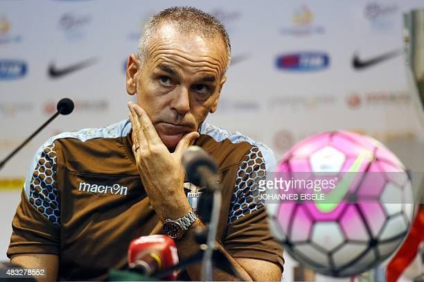Lazio's head coach Stefano Pioli attends a press conference ahead of the Italian Super Cup final football match between Juventus and Lazio in...